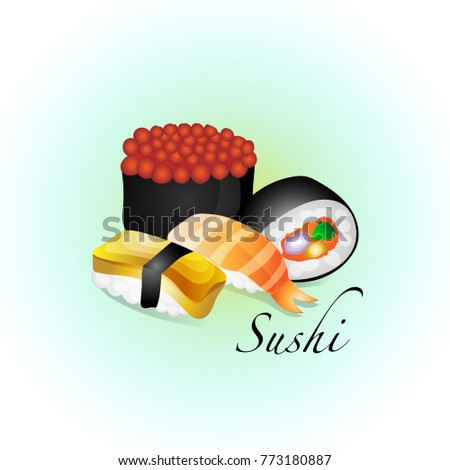 set of cute hand drawing sushi