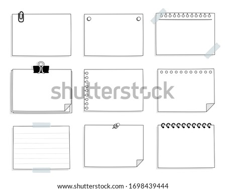 set of cute hand drawn, blank paper sticky note pad with tape, speech bubble balloon think, speak, talk, template, flat design, vector, illustration text box banner frame Stock photo ©