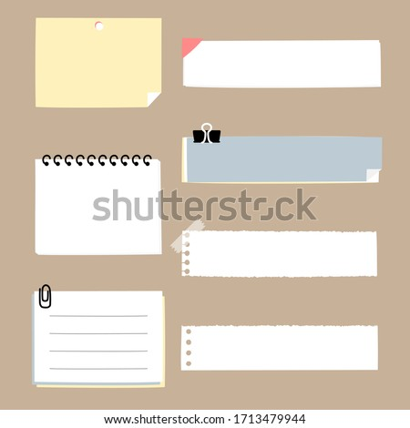 set of cute hand drawn, blank ripped paper sheet sticky note pad with tape, speech bubble balloon think, speak, talk, template, text box banner frame, flat design, vector, illustration