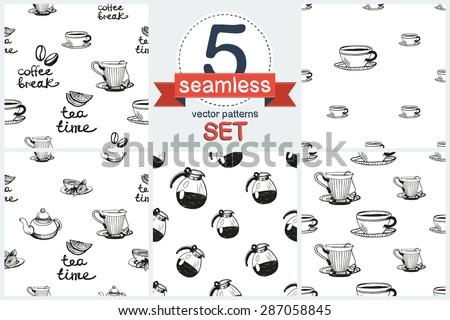 set of cute hand drawn coffee