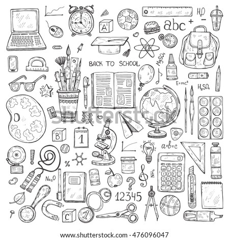 Set of cute hand drawn educational tools including pencils; pens; watercolor; eraser; globe; brush; and others. Vector hand drawn back to school collection