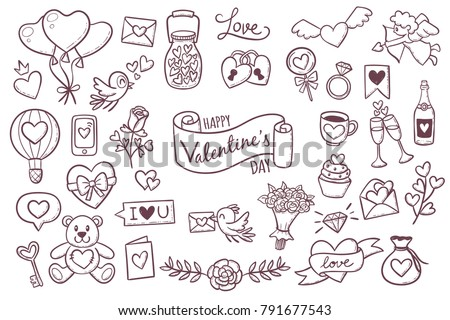 Set of cute hand drawn elements about love. Design elements isolated on white. Happy Valentine's Day background. EPS 10 vector illustration.