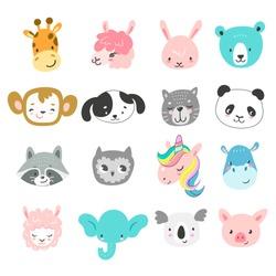 Set of cute hand drawn smiling animals characters. Cartoon zoo. Vector illustration. Giraffe, llama, bunny, bear, monkey, dog, cat, panda, raccoon, owl, unicorn, hippo, sheep, elephant, koala and pig