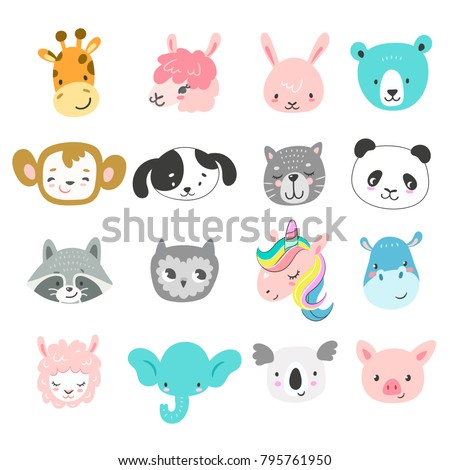 Set of cute hand drawn smiling animals characters. Cartoon zoo. Vector illustration. Giraffe, llama, bunny, bear, monkey, dog, cat, panda, raccoon, owl, unicorn, hippo, sheep, elephant, koala and pig