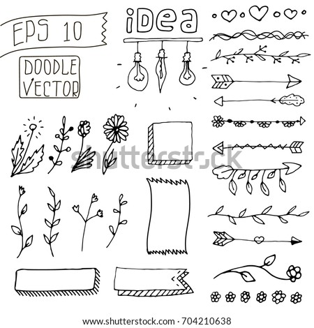 Set of Cute Hand drawn Vintage Doodle Dividers isolated on white background. Bullet journal Ideas. Girly Stuff. Floral Decorative Elements. Line Border Set, Design Element, Beautiful Ornaments