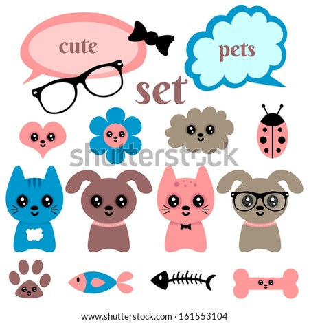 set of cute happy animals and