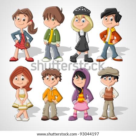 set of 8 cute happy cartoon kids - Cartoon Pics Of Kids