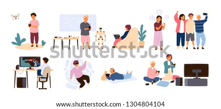 Set of cute happy children performing various activities or doing hobbies - playing games on computer or console, programming, launching drone, wearing VR headset. Flat cartoon vector illustration.