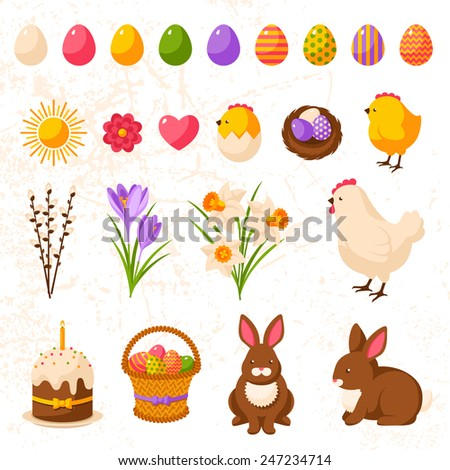 set of cute happy easter icons