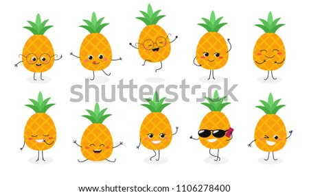 set  2 of cute happy pineapple