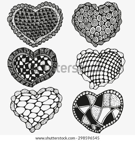 set of cute hearts