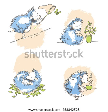 set of cute hedgehogs on rest