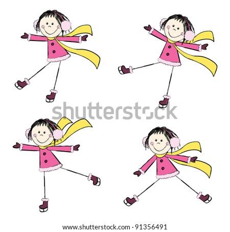 set of cute ice skating girls