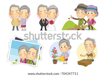 set of cute icon   old age life