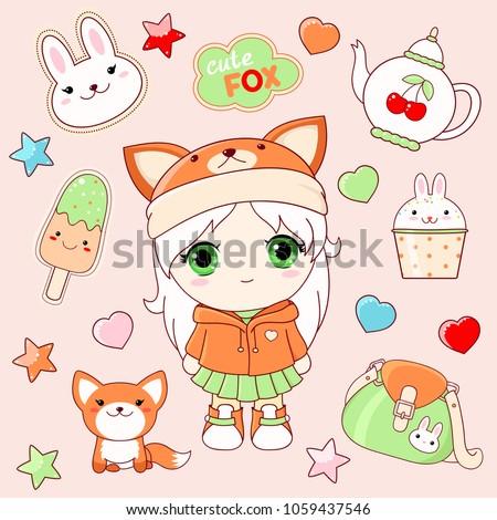 set of cute icons in kawaii