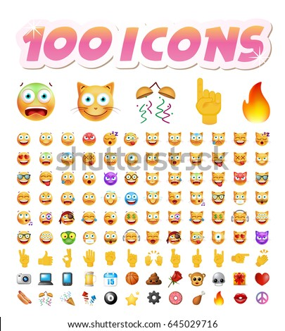 Set of 100 Cute Icons on White Background. Isolated Vector Illustration