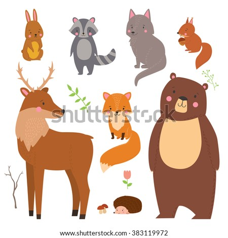 set of cute illustration of