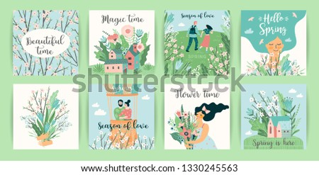 Set of cute illustrations with people and spring nature. Vectir design for poster, card, invitation, placard, brochure, flyer and other