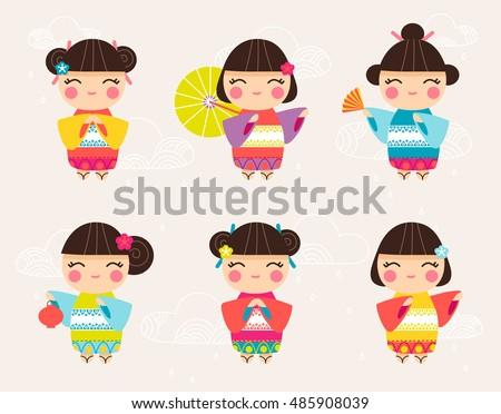 set of cute japanese kokeshi