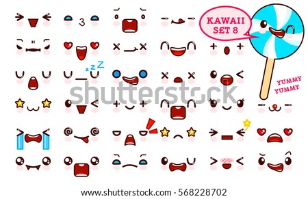 Set of cute kawaii emoticon face and sweet candy on a stick, collection smileys manga executed in a cartoon style. Vector illustration.
