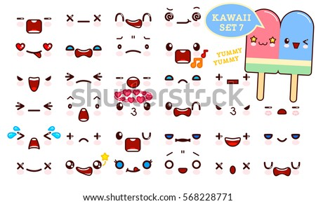 set of cute kawaii emoticon