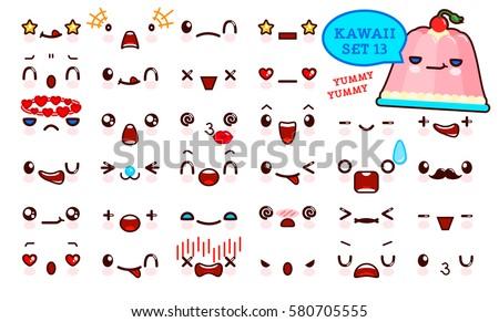set of cute kawaii emoticon