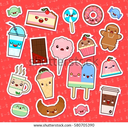 set of cute kawaii food