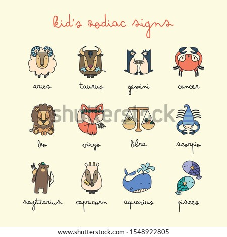 Set of cute kid's zodiac signs for decoration.