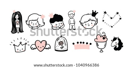 set of cute kids logo little