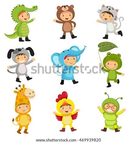 set of cute kids wearing animal