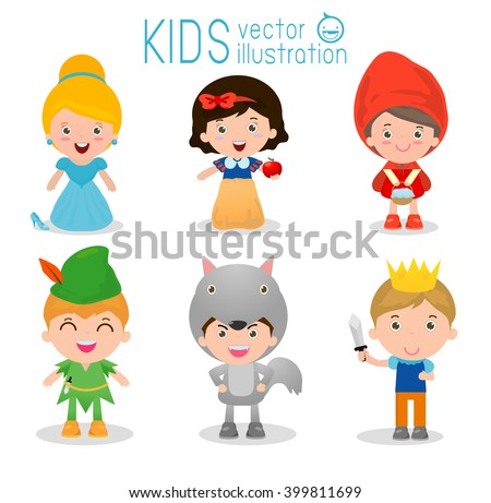 set of cute kids wearing story
