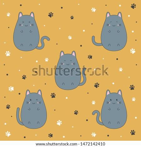 set of cute kitten cartoon on