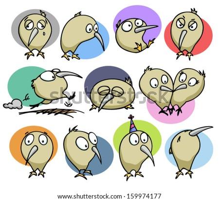 set of cute kiwi birds