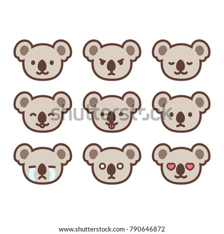 Shutterstock Set of cute koala emoticons with different expressions. Funny emoji faces. Simple cartoon vector illustration.
