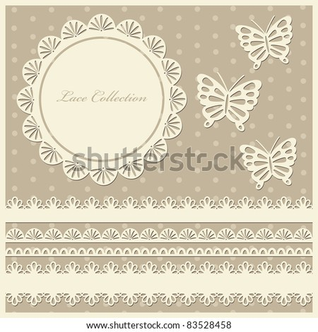 set of cute lace elements. vector illustration