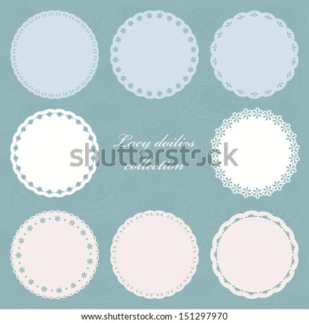 Set of cute lacy doilies on floral background