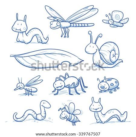 set of cute little cartoon