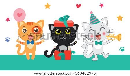 set of cute little cats