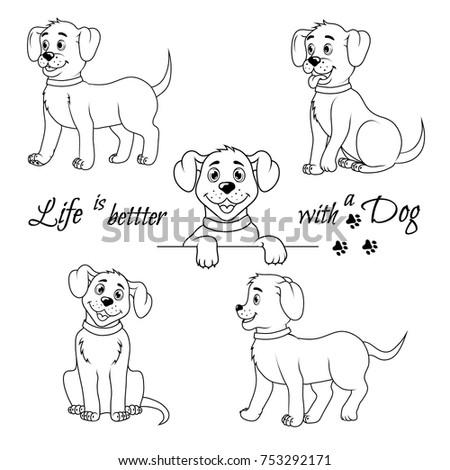 set of cute little dog happy