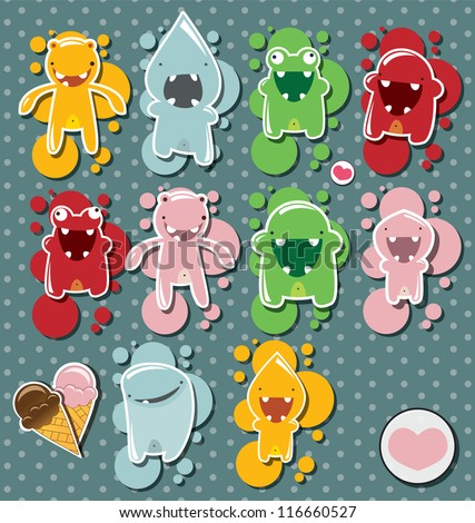 Set of cute little monsters on dotted background, vector