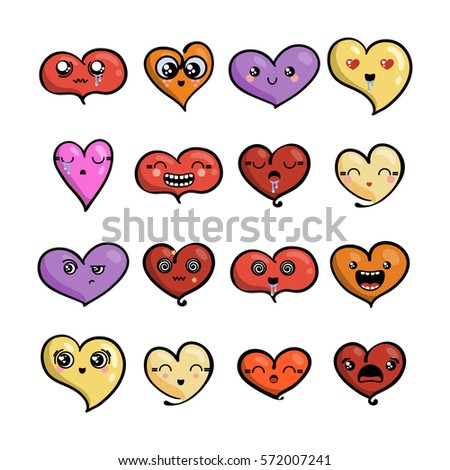 set of cute lovely emoticons