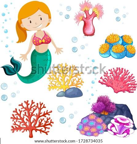 Set of cute mermaid and sea theme illustration