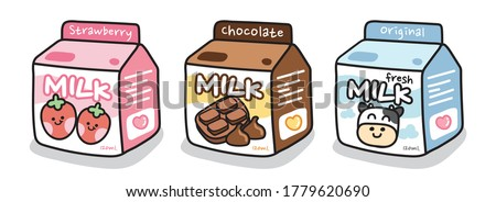 Set of cute milk box on white background.Cartoon beverage collection.Starwberry,chocolate,original fresh milk.Cow,Drinking.Image for sticker,baby product,decoration.Kawaii.Vector.Illustration. Stock photo ©
