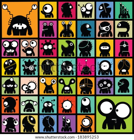 set of cute monsters vector
