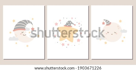 Set of cute moon and star cards or posters for baby shower, invitation, room decoration, and more. Moon and star characters in girly pastel colors.