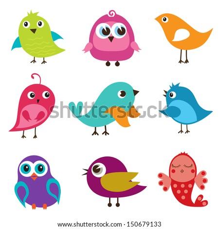 Set of cute multicolored birds