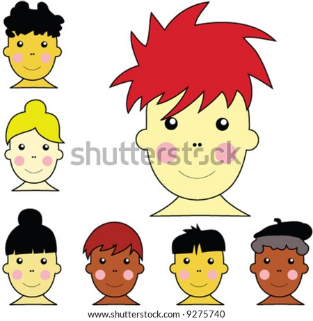cute multicultural boy and girl faces with different hairstyles and skin