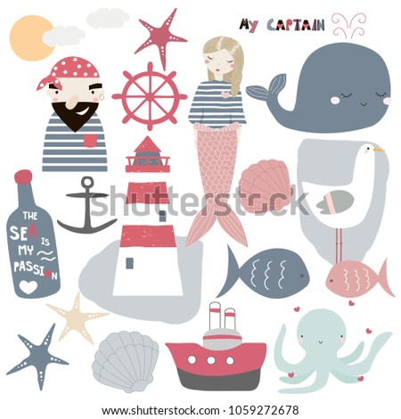 stock-vector-set-of-cute-nautical-elements-vector-hand-drawn-illustration
