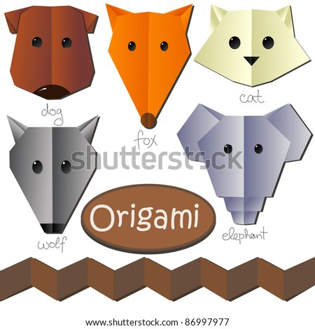 set of cute origami animal heads like dog cat fox elephant wolf isolated on white background