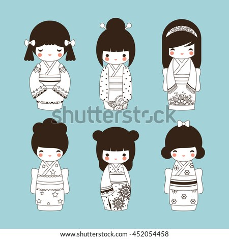 set of cute outline japanese